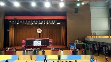 2019年10月6日在长春建筑大学第一次跆拳道比赛,赛前准备,,在右侧穿蓝色护具的是立冬,,穿红色衣服的是吴长奇教练