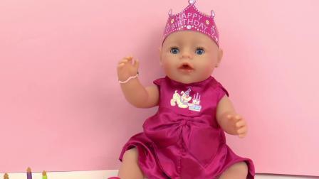 Baby Born 新生 婴儿 宝宝 娃娃 生日 派对 宴会 庆祝 晚礼服 连衣裙 粉色 蛋糕 装饰