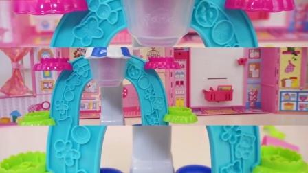儿童的手- 北美玩具冰淇淋甜点与多色泥。
