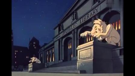 鬼马小精灵:小幽灵来图书馆,不料却把门口的石狮子给吓跑了