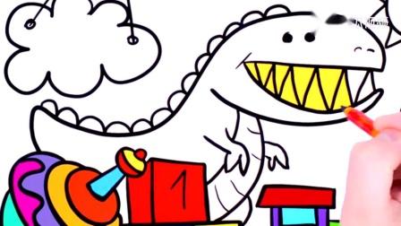 趣味简笔画,绘制儿童创意玩具并着色,皮球,恐龙,小火车