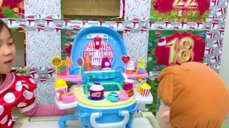 圣诞节倒数洞洞乐12月12号 白雪公主的冰淇淋店开卖罗 有谁要来吃炒冰的啊!_玩具开箱一起玩玩具