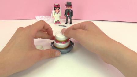 摩比游戏  欢乐 人偶 公仔 盛大 婚礼 新郎 新娘 结婚 蛋糕 套装 展示