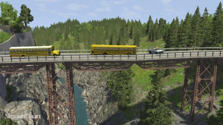 BeamNG模拟汽车卡车连环车祸桥梁坍塌
