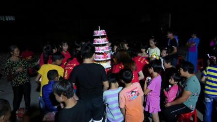 骆世荣80大寿唱生日快乐歌和吃蛋糕