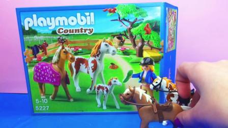 摩比游戏  乡村系列 田园 驯 马场 小马 农场 套装 组装