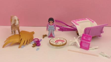 摩比游戏 仙境 城堡 公主 炫酷 御用 带 翅膀 马车 展示