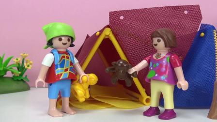 摩比游戏 电影 蕾娜 克丽丝 野外 露营 郊游 搭 帐篷 动物 篝火 晚会 展示(2)
