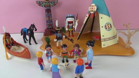 摩比游戏 蕾娜 克丽丝 参加小朋友生日派对 印第安人部落 展示