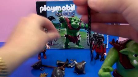 摩比游戏 骑士系列 巨魔 绿巨人怪兽 矮人战士 组装 展示