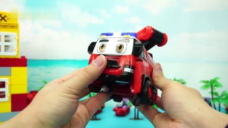 警车联盟变形玩具 消防车大雷和保安车马特