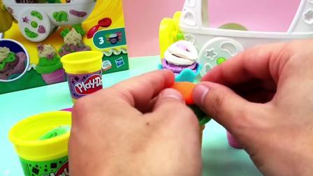 Play Doh 培乐多 Sweet Shoppe 系列ice cream 圣代 冰激凌 车 彩泥 套装 玩具组 组装 展示