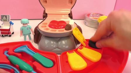 摩比游戏 牙医 帮助 小猴子 一起 制作 修补 金色 粘土 彩泥 牙齿 套装 玩