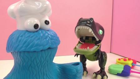 Play Doh 培乐多 饼干怪兽 从 恐龙巨兽 守卫 偷 冰激凌 甜点 故事