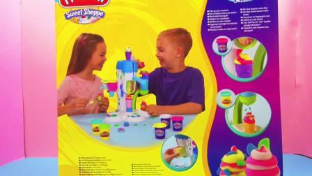 Play Doh 培乐多 彩泥 套装 Sweet Shoppe 系列ice cream 圣代 冰激凌 机器 展示