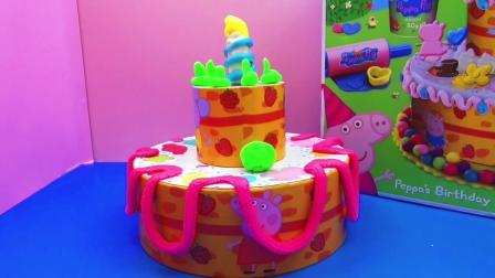 Play doh 培乐多 彩泥套装 Peppa Pig 粉红猪小妹 Birthday Cake 生日蛋糕 组装 展示