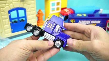 汽车总动员 法国发射车与货柜车 玩具 赛车总动员