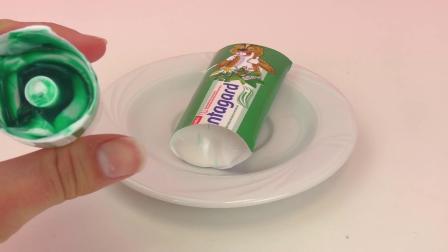 生活实验 DIY 手工展示 为什么牙膏是彩色条纹呢, 牙膏的里面是什么样子的_