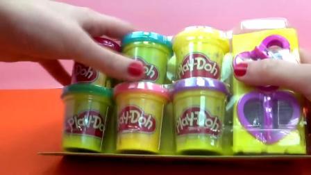 Play Doh 培乐多 蝴蝶 爱心 炫酷彩色亮片 罐装 彩泥 套装 开箱 展示