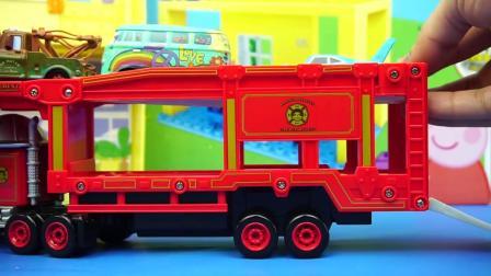 赛车总动员的麦大叔拖车与小汽车玩具