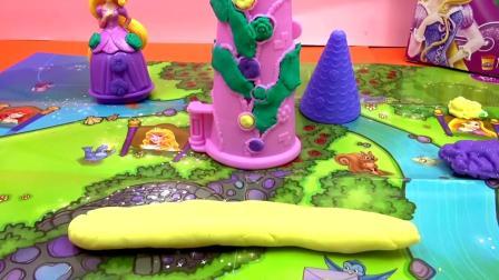 Play Doh 培乐多 迪士尼 魔法奇缘 Tangled 长发 公主 魔法 城堡 套装 组装 展示