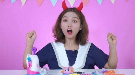 魔法粘粘乐好神奇呀!晶晶姐姐用气球做大鲨鱼!过家家手工DIY玩具