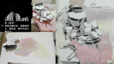 杭州画室丨杭州十大画室-色彩静物教学示范水果陶罐篇步骤二