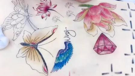 弋美吧纹饰教育培训学校学员小雨小纹身图案练习中