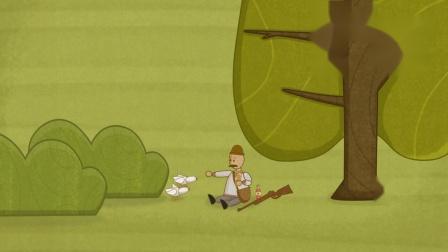 温馨幽默动画,史上最善良的猎人,不敢扣扳机还搭上食物