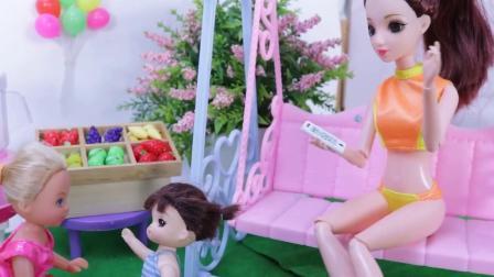 芭比娃娃手工制作果汁 凯莉和莎莎喜欢喝果汁