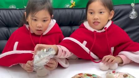 圣诞节系列蛋糕开箱 有跟姐姐的脸一样大的圈圈蛋糕 还有超大的巧克力拐杖面包 各种