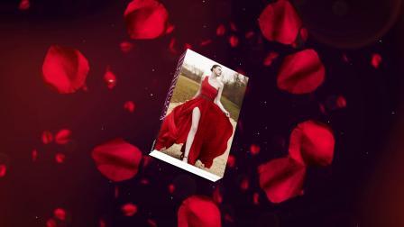 AE模板 玫瑰花瓣婚礼婚庆新郎新娘情人节模特相册展示字幕介绍介绍开场