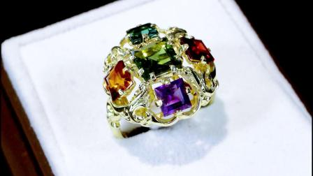 橄榄石,黄水晶,石榴石,紫水晶,碧玺和14克拉黄金礼服戒指 - A7668