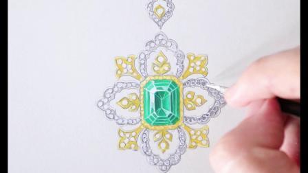 【高级珠宝手绘】进阶篇 欧洲古典风祖母绿吊坠 珠宝设计作品
