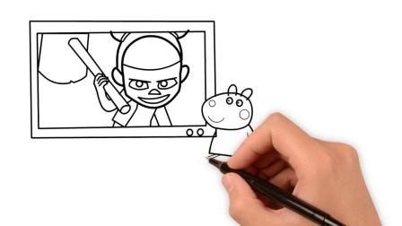 小猪佩奇好朋友小羊苏西和妈妈看哪吒新电影简笔画