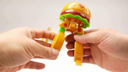 汉堡薯条蛋糕冰淇淋食品战斗机机器人变形转换
