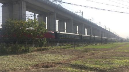 沪昆线 首次拍到南局南段HXD3D牵引K254次通过杭州枢纽盈宁站