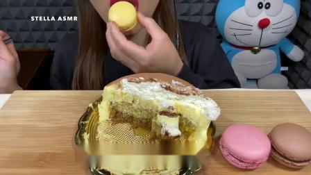 美女试吃:梦龙巧克力脆皮冰淇淋球、法式马卡龙、提拉米苏蛋糕