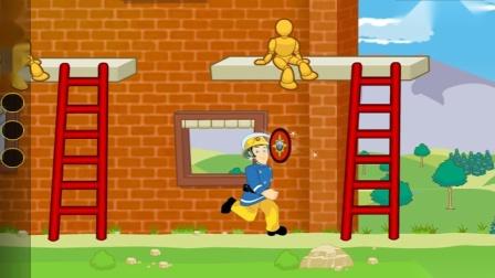 亲子早教益智游戏 消防员训练 英勇消防员灭火动画