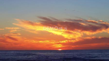 大屏幕 歌舞晚会 f377 4k画质大气壮观海面海洋日落天空金色云彩彩霞海水大自然景色视频素材 视频特效 剪辑视频素材