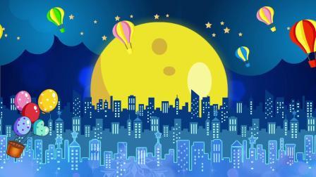 038 卡通城市月亮舞台背景