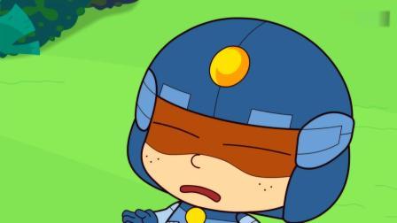 开心超人:粗心超人拿出了超级离子炮,结果错装了胡椒弹!复印机怪兽追着粗心超人跑,结果粗心超人拔掉了它的插头!