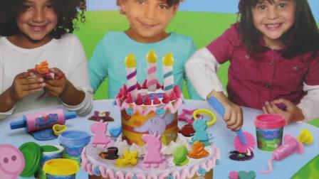 动画片,粉红猪小妹培乐多生日蛋糕,玩,卫生署粉红猪小妹做蛋糕芭比