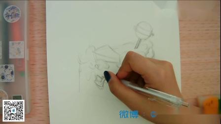 【蚂蚁设计素材】江南设计 黑白装饰画 迟到的万圣节蛋糕(不会画画也能看明白系列)