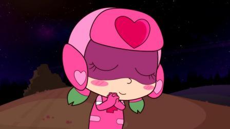 开心超人:甜心超人向流星许愿,她希望能做出最美味的菜!飞船向甜心超人飞来了,甜心超人用甜心保护罩保护了自己!