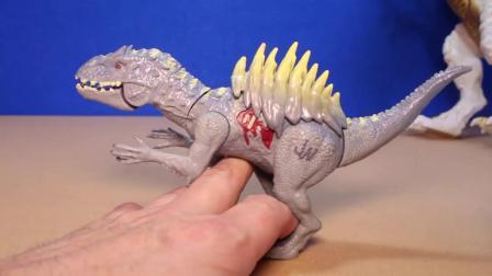 动画片,侏罗纪世界INDOMINUS REX玩具恐龙混合狂暴和盔甲I-REX恐龙玩具评论