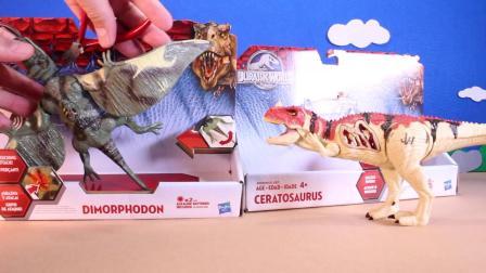 动画片,侏罗纪世界恐龙玩具开幕 - 双型齿翼龙属VS角鼻龙恐龙玩具评论