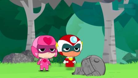开心超人:开心超人发现了一棵石头树,粗心超人从树上掉下来了!大大怪让石头人把星星球人变成了石头,结果被甜心超人发现了!