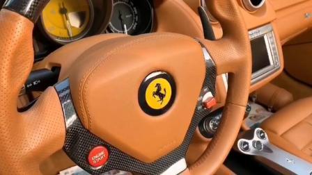 12款法拉利加州/California/红色棕内/德版公里表/碳纤维LED方向盘/运动加热座椅/陶瓷刹车/拨片换挡/多种赛道运动模式/电子手刹/前后雷达/红色大