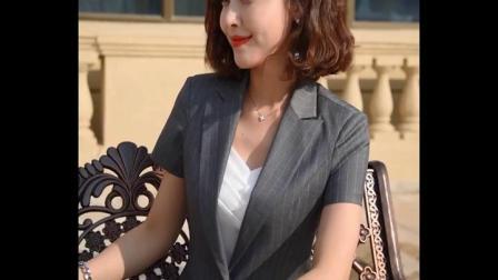 职业装气质女2019新款时尚西装套装女美容院工作服女套装夏季工装-tmall.com天猫(1)